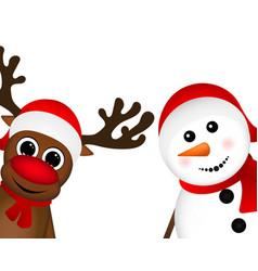 Snowman and reindeer peeking sideways vector