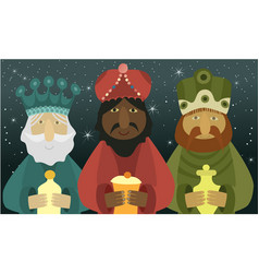 Three wise men bring presents to jesus vector