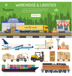 Warehouse and logistics banner vector