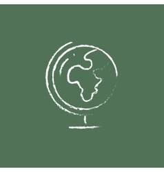 World globe on stand icon drawn in chalk vector image vector image