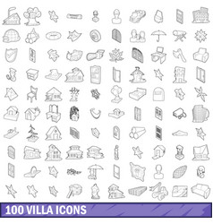 100 villa icons set outline style vector