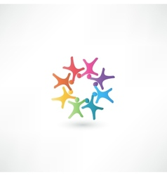 Team symbol multicolored people vector