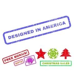 Designed in america rubber stamp vector
