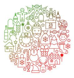 christmas line icon circle design vector image