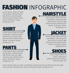 Fashion infographic with young smiling manager vector