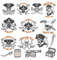 Set of pirate emblems isolated on white vector