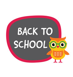 Back to school banner with a cute owl vector