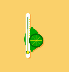Flat icon design collection thermometer with vector