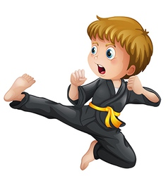 A young boy showing his karate moves vector image