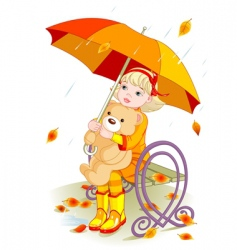girl and teddy bear vector image