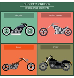 Set of elements choppers cruisers vector