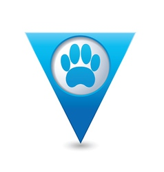 animal footstep BLUE triangular map pointer vector image