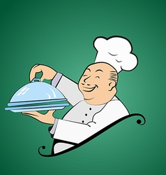 Funny fat chef holds a dish vector