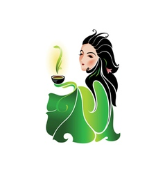Woman drinking tea vector