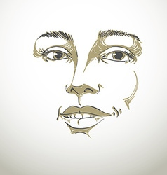 Hand-drawn portrait of white-skin flirting woman vector