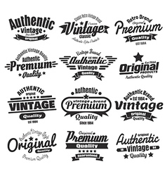 12 vintage insignias or labels vector