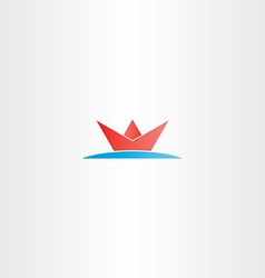 Red paper boat in sea water logo vector