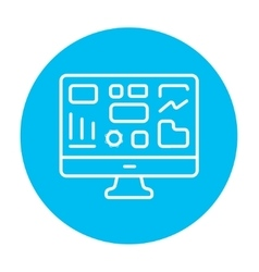 Monitor with business graphs line icon vector