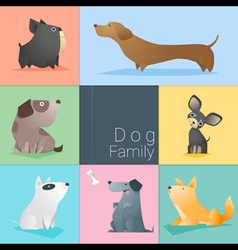 Set of dog family vector