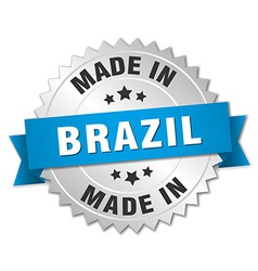 Made in brazil silver badge with blue ribbon vector