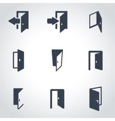 Black door icon set vector