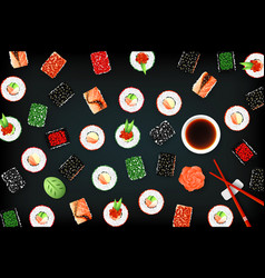 background with set of different sushi vector image vector image