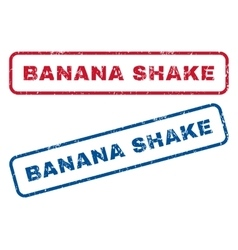 Banana shake rubber stamps vector