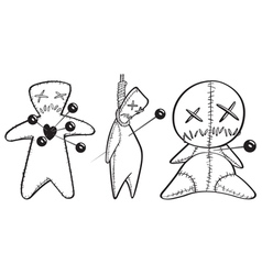 black and white voodoo dolls vector image vector image