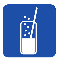 blue white sign - carbonated drink and straw vector image vector image