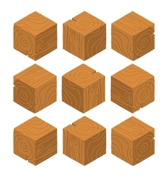 Cartoon Isometric wood game brick cubes set vector image
