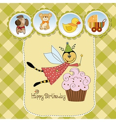 Childish birthday card with funny dressed bee vector image vector image
