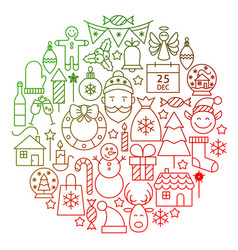 Christmas line icon circle design vector