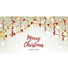 Christmas web banner with garlands and serpentine vector image vector image