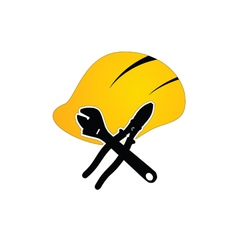 Construction tin hat with tools vector