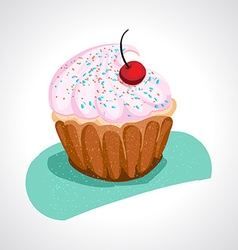Cup cake with pink cream vector