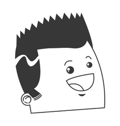 Cute face of happy man with pointy har icon vector