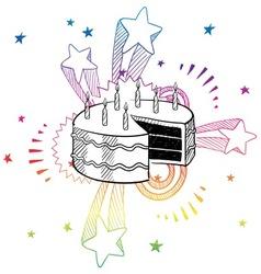 Doodle pop cake birthday vector