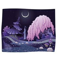 Fantasy nightly landscape on the riverside vector