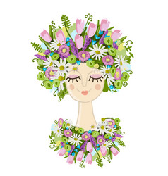 female portrait with floral hairstyle for your vector image vector image