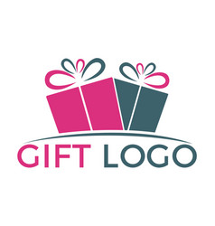 gift box logo design vector image vector image