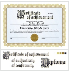 Gold certificate Template Horizontal vector image