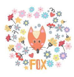 Hand drawn funny cute red fox vector