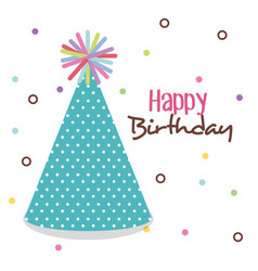 Happy birthday card with hat party vector