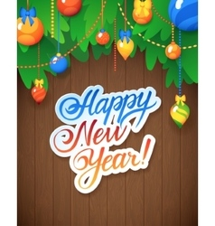 Happy new year message and objects on wood vector