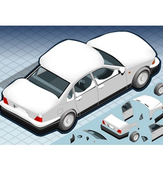 Isometric snow capped white car in rear view vector