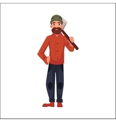 Lumberman lumberjack woodcutter standing and vector image