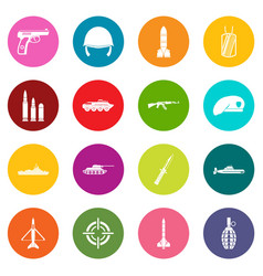 military icons many colors set vector image