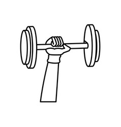 outlined hand holding dumbbell weight fitness vector image
