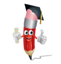 pencil mascot graduating vector image