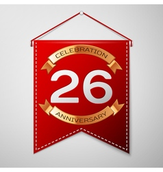 Red pennant with inscription twenty six years vector